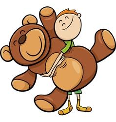 boy with big teddy cartoon vector image