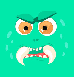cartoon monster face halloween green angry vector image