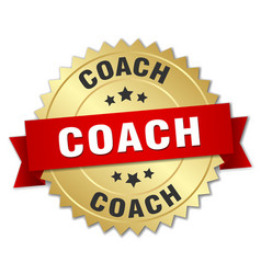 Coach 3d gold badge with red ribbon vector