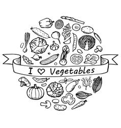 Doodle Set I love Vegetables vector image vector image