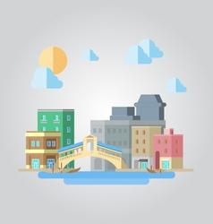 Flat design of venice bridge cityscape vector image