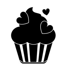 silhouette cup cake love vector image vector image