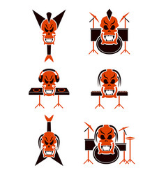 skull music tribal tattoo set vector image