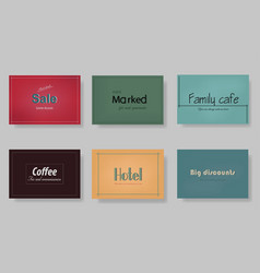 a set of templates labels cards on different vector image