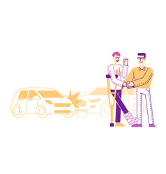 Accident insurance concept agent shaking hand to vector
