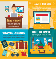 agency travel banner set flat style vector image