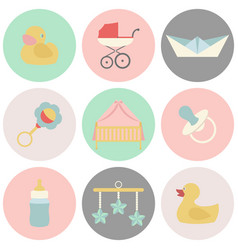 Baby and kids set icons vector