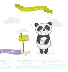 Baby shower card - panda with mailbox vector
