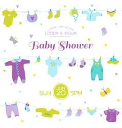 Baby shower or arrival card - boy elements vector