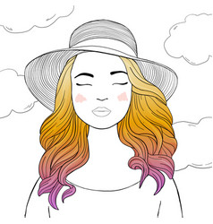 beautiful woman in a hat with colored hair vector image