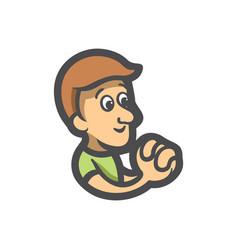 believer boy wishes man sign prayer vector image