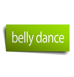 Belly dance green paper sign on white background vector