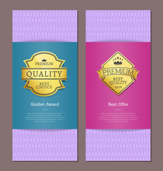 best award golden offer premium quality labels vector image