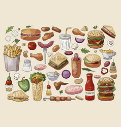 big fast food elements on light background hand vector image