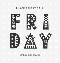 black friday sale scandinavian tribal web banner vector image