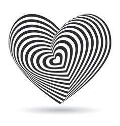 black heart on white background Optical vector image