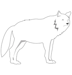 black line wolf icon vector image
