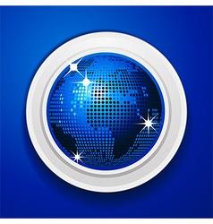 Blue world globe on white frame vector