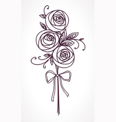 bouquet of roses hand drawing stylized flowers vector image