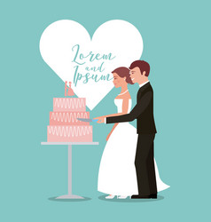 Bride and groom cutting wedding cake greeting card vector