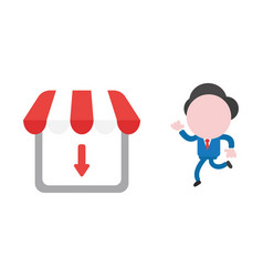 businessman character running to shop store with vector image