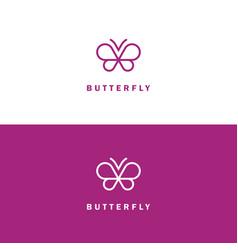 Butterfly mono line logo vector