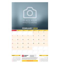 Calendar planner template for 2018 year february vector