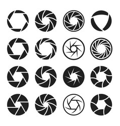 camera shutter icon set photo and video equipment vector image