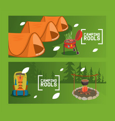 camping rools flyer overnight stay outside vector image