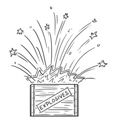 cartoon exploding box with explosives vector image