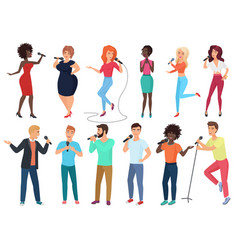 cartoon singers with microphones and vector image