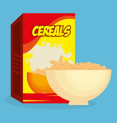 cereal dish with box product delicious food vector image