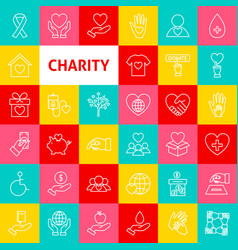 Charity line icons vector