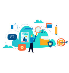 Cloud computing services and technology vector