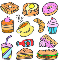 Collection stock of food cake drink doodles vector