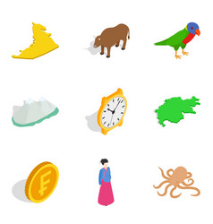 Continental life icons set isometric style vector