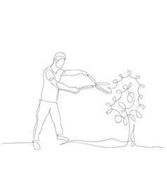 Continuous one line man cuts a bush with a brush vector
