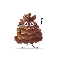 Cute cedar cone character cartoon mascot personage vector