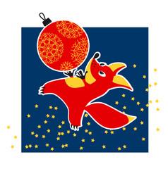 cute fox animal mascot with xmas ball vector image