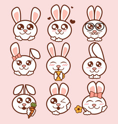 Cute rabbits icons set sweet vector