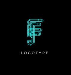 Cyber letter f for digital technology logo concept vector