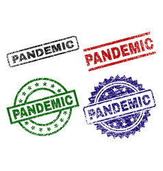 Damaged textured pandemic seal stamps vector