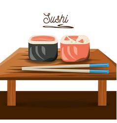 Delicious sushi japanese dish menu restaurant vector