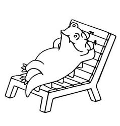 Dinosaur lays on a deck-chair vector