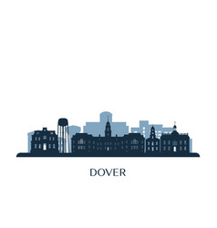 dover skyline monochrome silhouette vector image