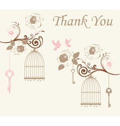 Doves thank you card vector