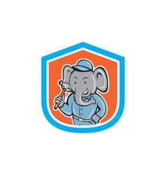 Elephant Builder Holding Hammer Crest Cartoon vector