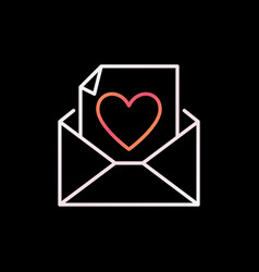 Envelope and letter with heart outline vector