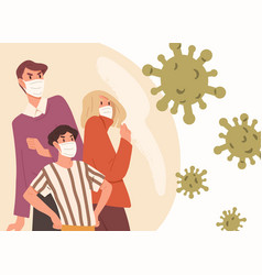 family wearing face masks man woman and child vector image