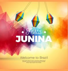 festa junina with paper lantern vector image